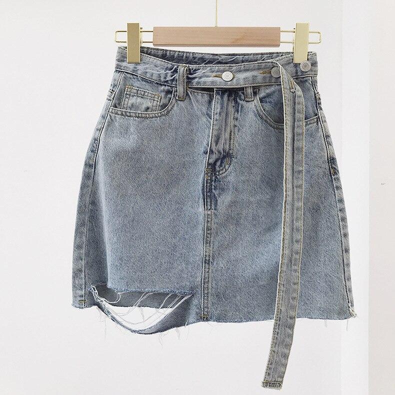 Весенне-летняя джинсовая юбка с рваными дырками и поясом, Корейская трапециевидная Синяя Женская юбка на шнуровке, сексуальная короткая ми...