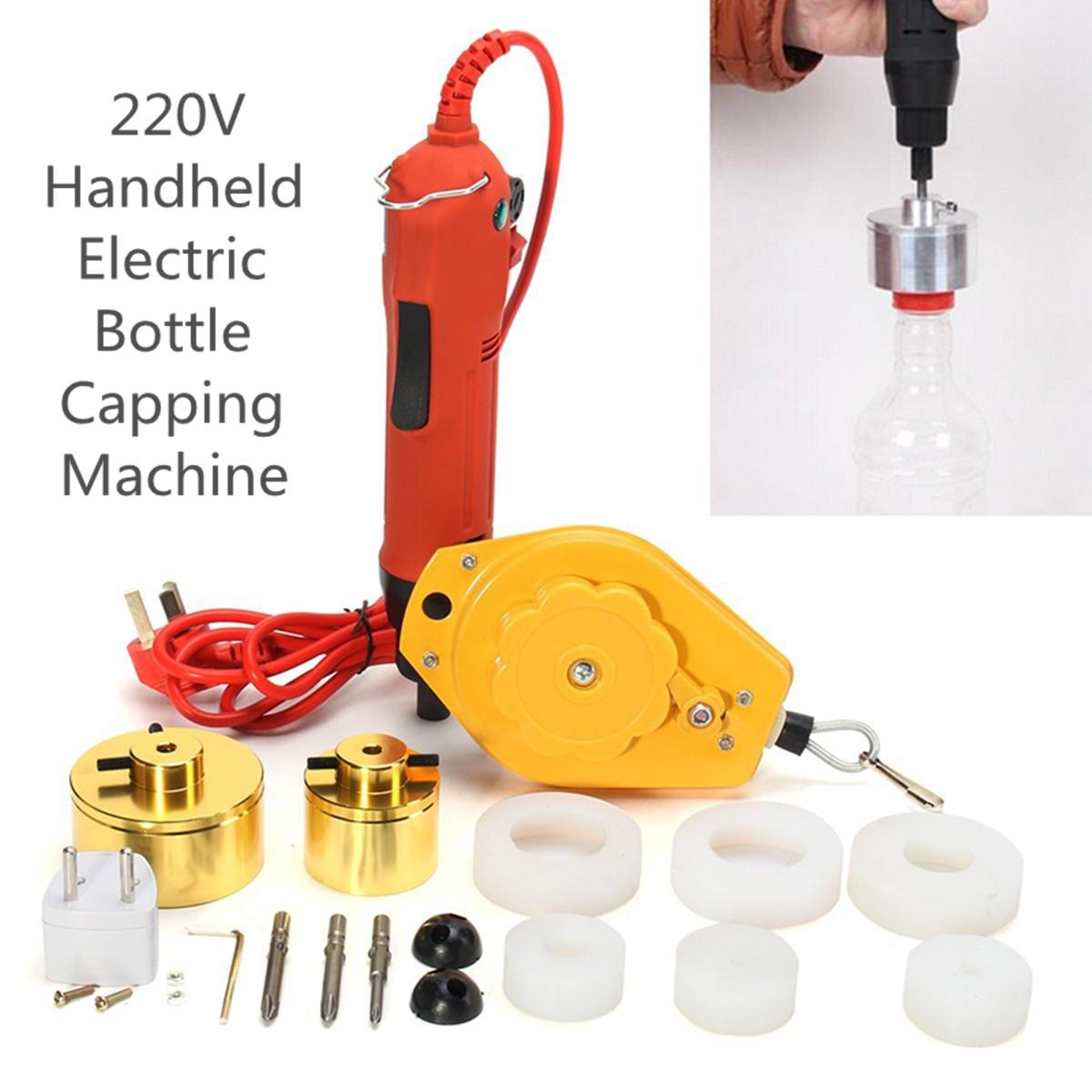 220 فولت المحمولة المحمولة التلقائي الكهربائية زجاجة السد ماكينة تطريز الشد ختم آلة زجاجة كابر مع موازن نابض