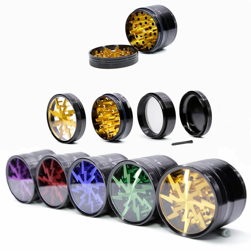 Latest 63MM 4-layer Aluminum Alloy Spice Weed Cutter Transparent Smoking Herb Lightning-Shaped Tobacco Grinder