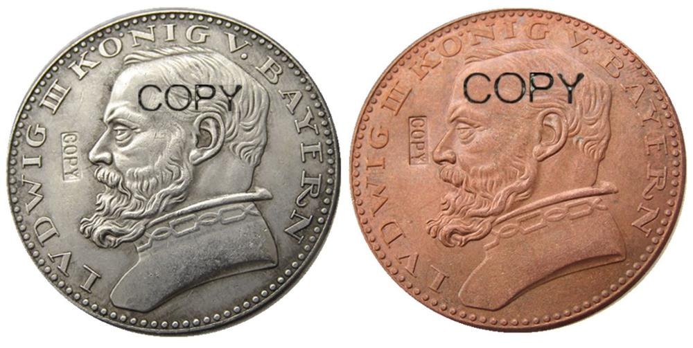 Alemán 1913 CU patrón 5 Mark alemán ST Bavaria Ludwig III plateado/monedas...