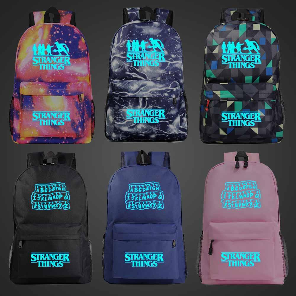 Azul luminoso moda extraño cosas chico chica libro escuela bolso mujer mochila adolescentes escolares hombres mochila estudiante