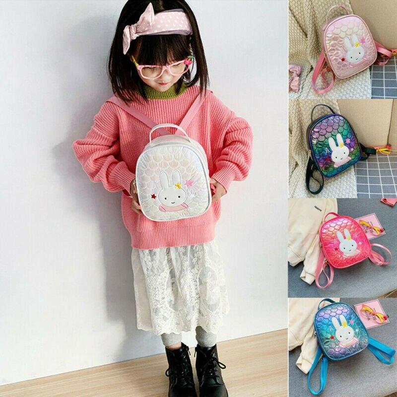 ¡Novedad de 2020! Mochila de bebé niña bonita Kawaii con diseño de sirena, bolsa con lentejuelas para regalo, mochila de conejo, mochila para guardería