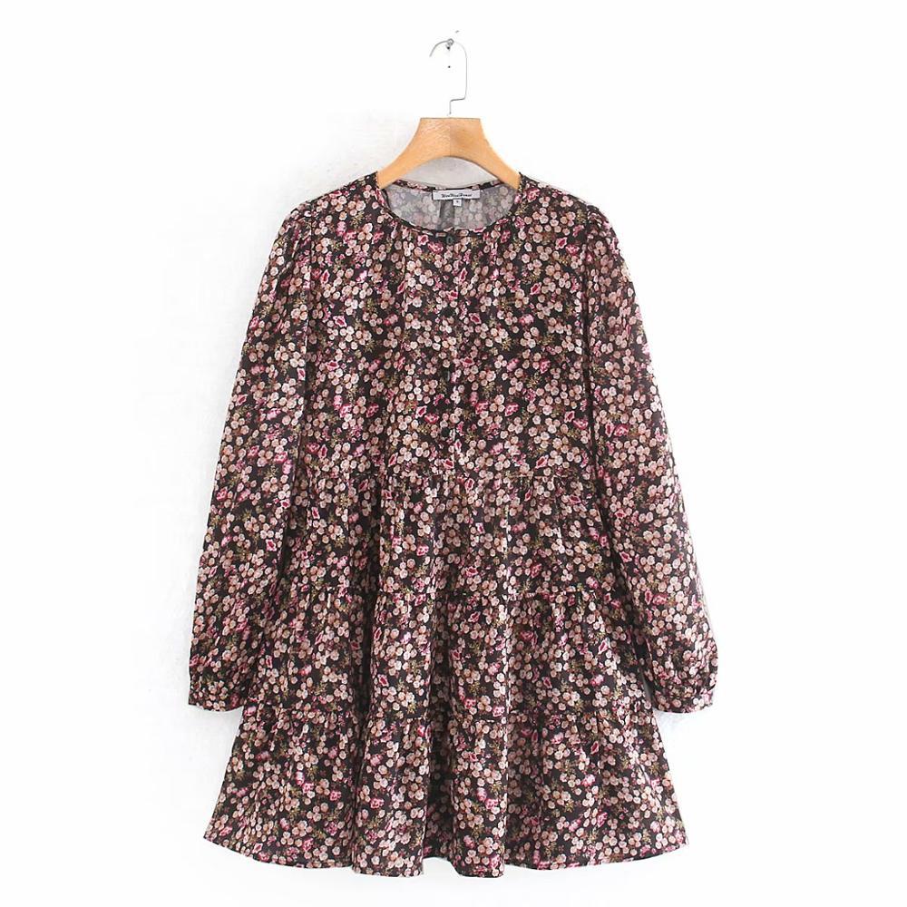 2020 mujeres elegante manga larga estampado Floral Casual Shirtdress femenino cuello redondo ocio Mini Vestidos volantes elegante Vestidos