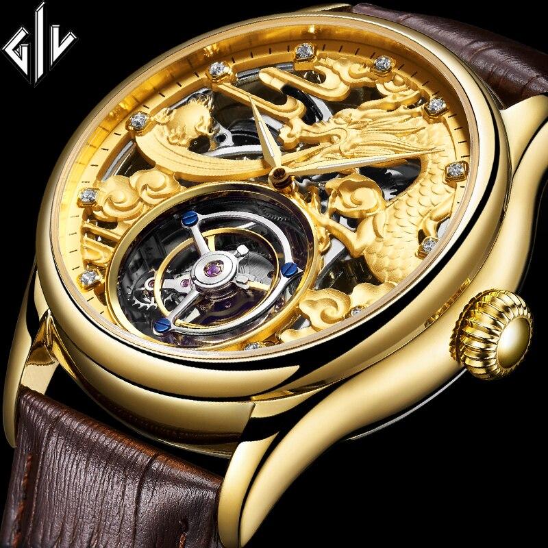 Giv 100% original tourbillon mão mecânica vento men assista marca superior de luxo à prova dwaterproof água safira relogio masculino