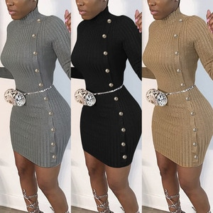 2021women's fashion solid color long sleeve buttock knitted dress Free shipping