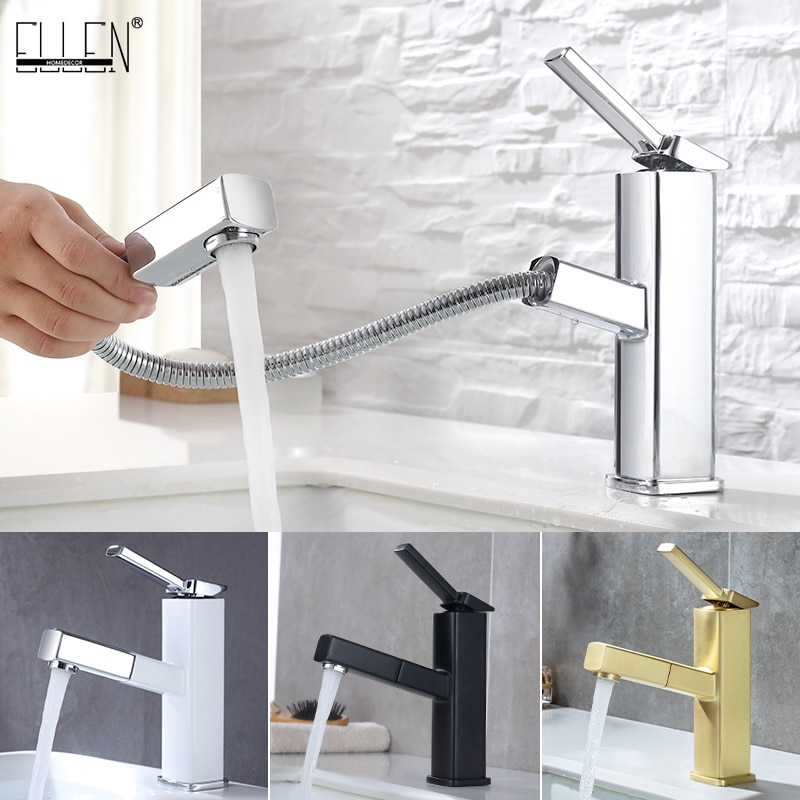 ELLEN выдвижной квадратный Ванная комната раковина кран черный смеситель горячей и холодной воды смесители для ванной на бортике 2 Тип распыл...