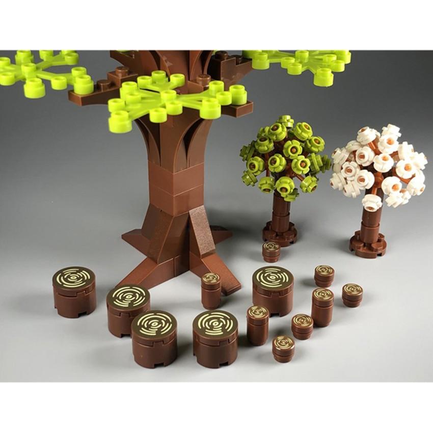 Juguetes de bricolaje para niños, juego de ladrillos, herramientas de construcción de bloques de árbol, tocón de madera con vista de la ciudad, Legoings, bosque
