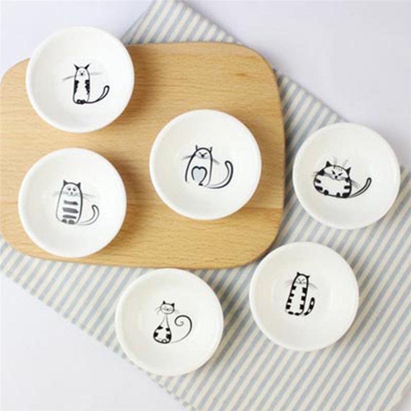 6Pcs/set Cute Cat Mini Heart Shaped Pigments Ceramics Soy Dish Sauce Vinegar Jam Dishes Kitchen Small Plate Set Tableware Gifts