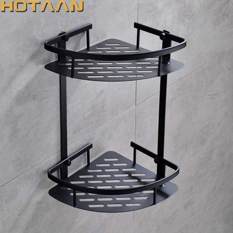 送料無料壁は黒アルミ浴室のシャワーシャンプー棚コーナーバスケットホルダーファッション二重層 YT-7026-H