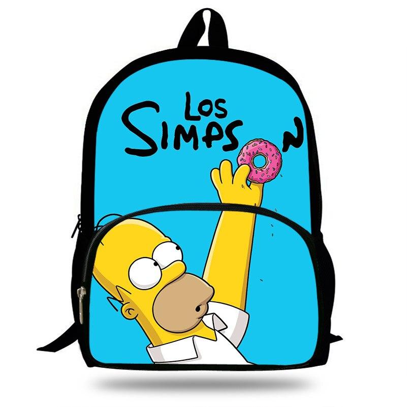 16-inch Mochila School Backpack The Simpsons Printing Children School Bags Boys Teenage Girls character homer&marge Backpacks