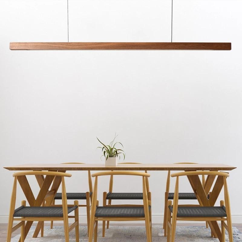 الشمال الصلبة قلادة خشبية أضواء LED الخشب مصابيح متدلية لتناول الطعام غرفة المعيشة مطبخ مكتب متجر شريط طويل مصباح معلق