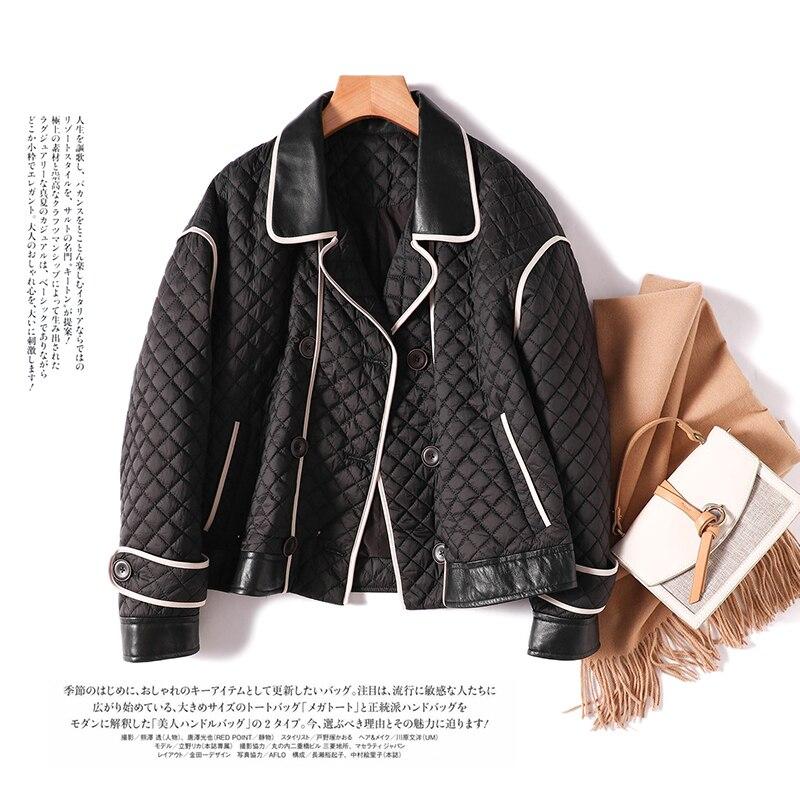 Парка SHUCHAN из овчины в стиле пэчворк, двубортные женские пальто и куртки, зимние тонкие модные дизайнерские куртки с высокой талией