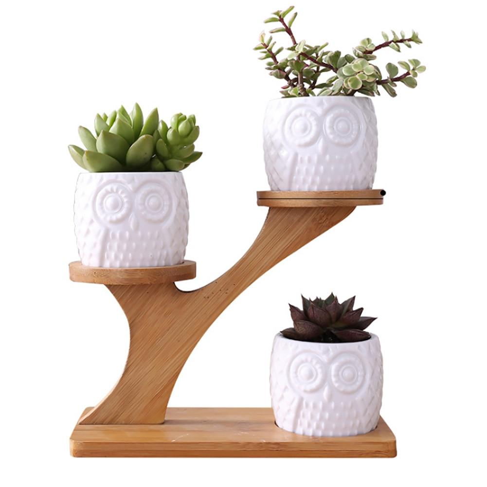Juego de 3 uds. De cacerolas de cerámica con soporte de bambú moderno y resistente al desgaste en forma de búho para interiores de 3 niveles, Set de cacerolas de escritorio para el hogar, ahorro de espacio