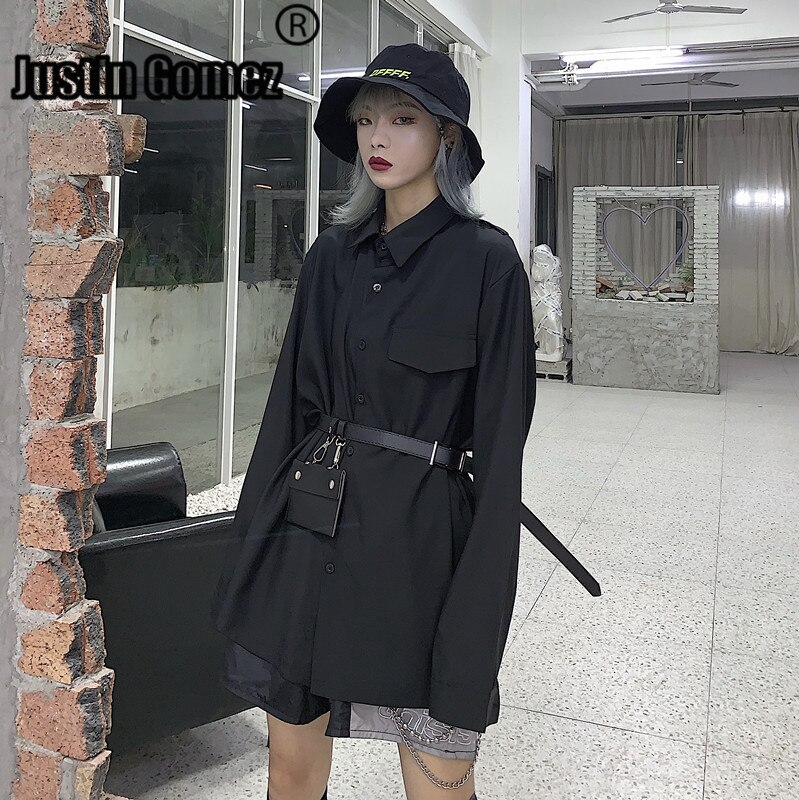 Novo Estilo Harajuku Bf Solto Camisa Preta Mulheres Blusas Highstreet Casacos Ladies Tops Estilo Coreano Novas Roupas Completos para As Mulheres