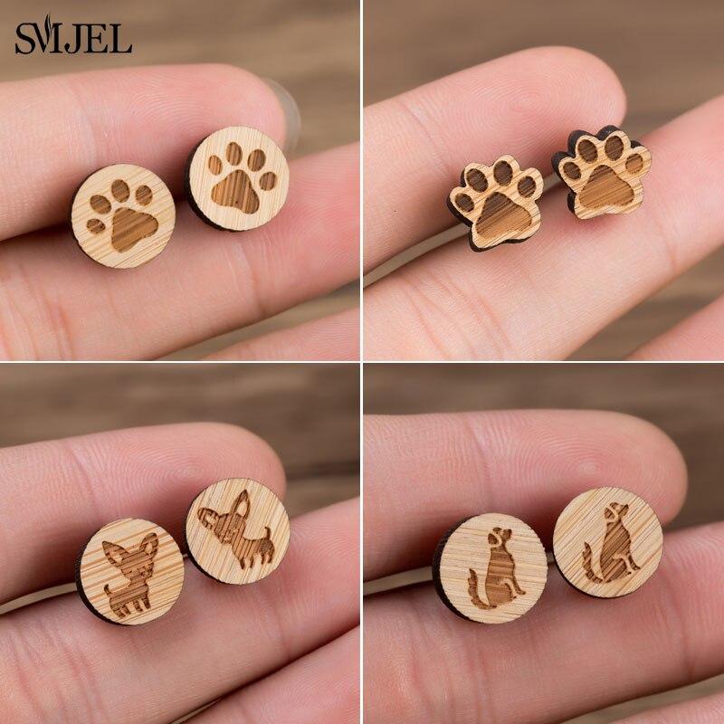 Minimalista perro huella de patas de perro pendiente pendientes de joyería de...