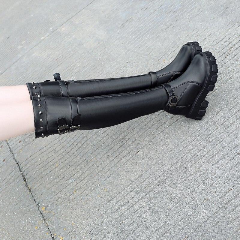 JINJIN-WW51-Zimowe damskie buty do kolan kliny wysokie obcasy 10CM platforma zasznurowa dugie buty jesie kobiety skrzane tra