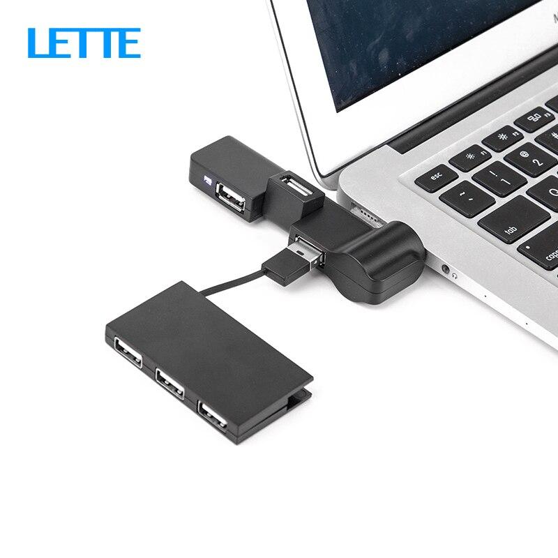 Giratorio USB HUB 4 puertos USB 2,0 divisor de inserción recta portátil concentrador USB delgado para el adaptador de ordenador portátil de escritorio iMac OTG