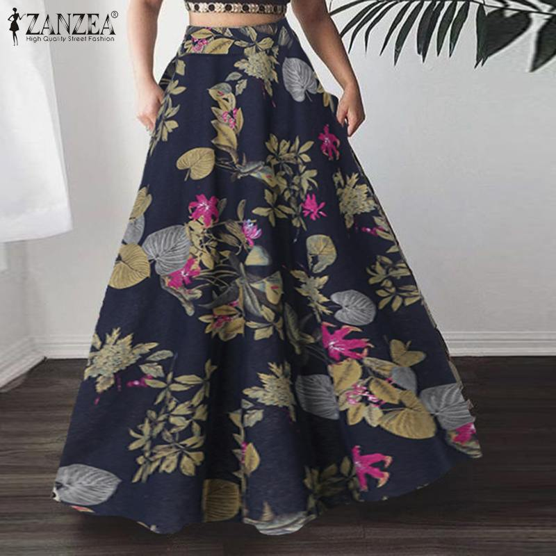 Summer Bohemian Floral Printed Long Skirts ZANZEA Women High Waist Skirts A-line Skirt Jupe Loose Beach Skirts Faldas Saia beach maxi long skirt zanzea summer zipper skirts women elegant solid skirts bohemian skirt jupe female faldas saia oversized
