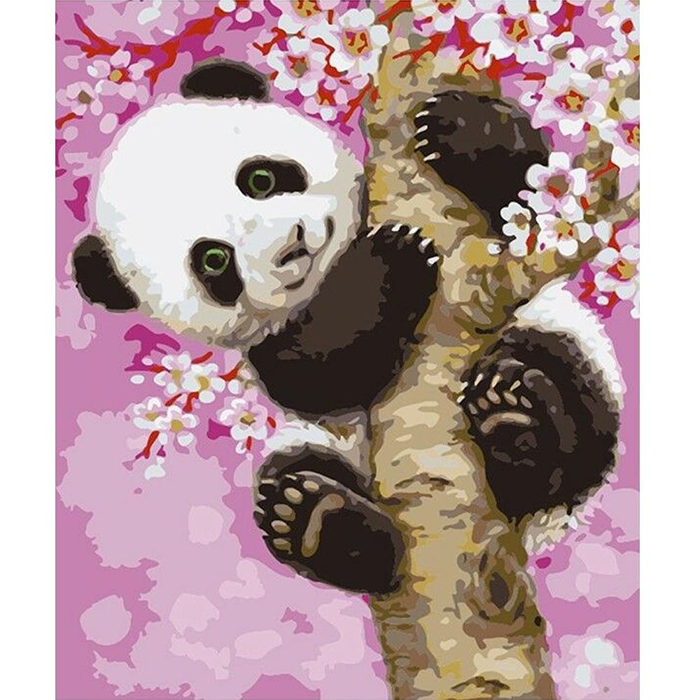Pintura por números Panda decoración de la habitación de la madre y el niño arte de pared DIY regalo pintura lienzo sin marco pintura por números
