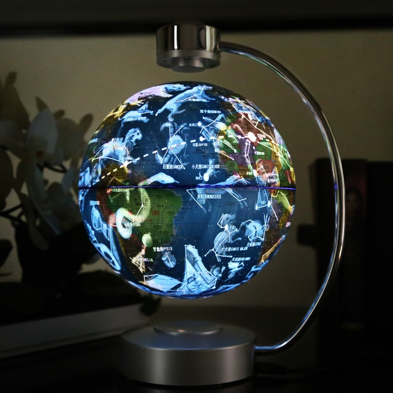 Novelty LED Touch Sensor Maglev 8 Inch Constellation Rotation Globe Articles Office Gift Suspension Lights Nightlight