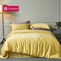 sondeson 6a grade 100 silk beauty yellow bedding set 25 momme silk healthy duvet cover set pillowcase queen king quilt cover