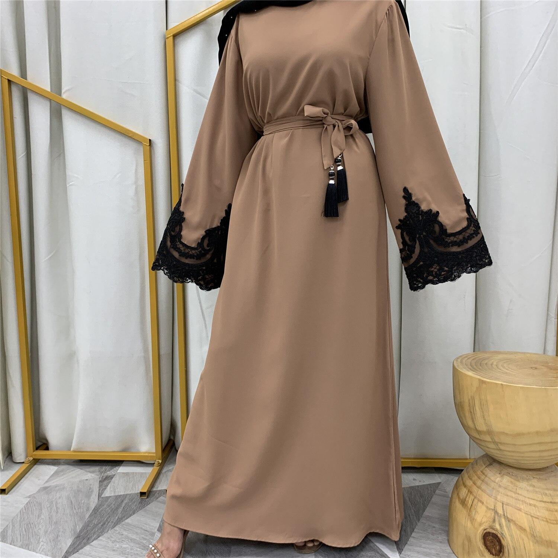 عباية إسلامية عصرية للكبار مقاس كبير دبي إسلامية 5 ألوان عبايات مطرزة بحزام F2687 ملابس للصلاة دروبشيب