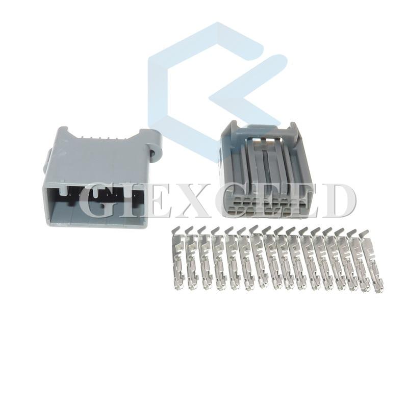 Conjunto de 2 conectores de 16 pines macho hembra para toma de PCB automotriz, conectores de coche, enchufes de arnés de cableado para Honda