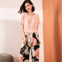 summer pajamas set women comfortable cotton contrasting color pajamas short sleeve tops and long trousers pants ladies homewear