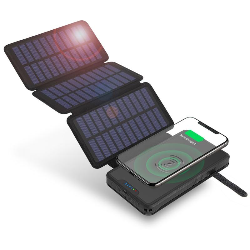 20000mAh طوي بنك الطاقة الشمسية تشى شاحن لاسلكي آيفون سامسونج شاومي Powerbank مقاوم للماء Poverbank مع مصباح يدوي