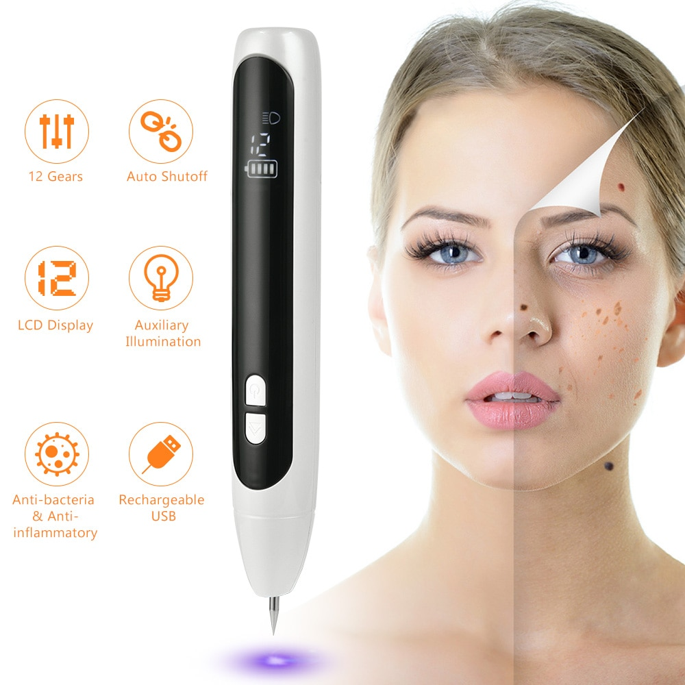 12 Level LED Laser Mole Tattoo Spot  Removal Pen Facial Freckle Skin Face Care Machine Remover Cleaner