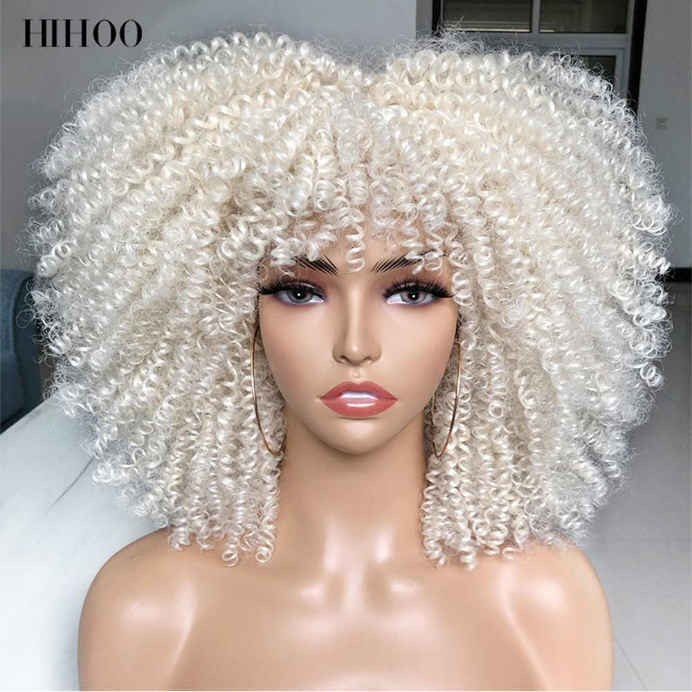 Short Hair Afro Kinky Curly Wigs With Bangs For Black Women Cosplay Lolita Synthetic Natural Blonde White Pink Blue Green Wig