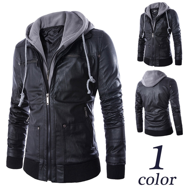 Men's PU Leather Jackets Casual Slim Fake Two Pieces Men's Motorcycle Jacket Faux Leather Coat Zipper Pocket Hooded PU Jacket