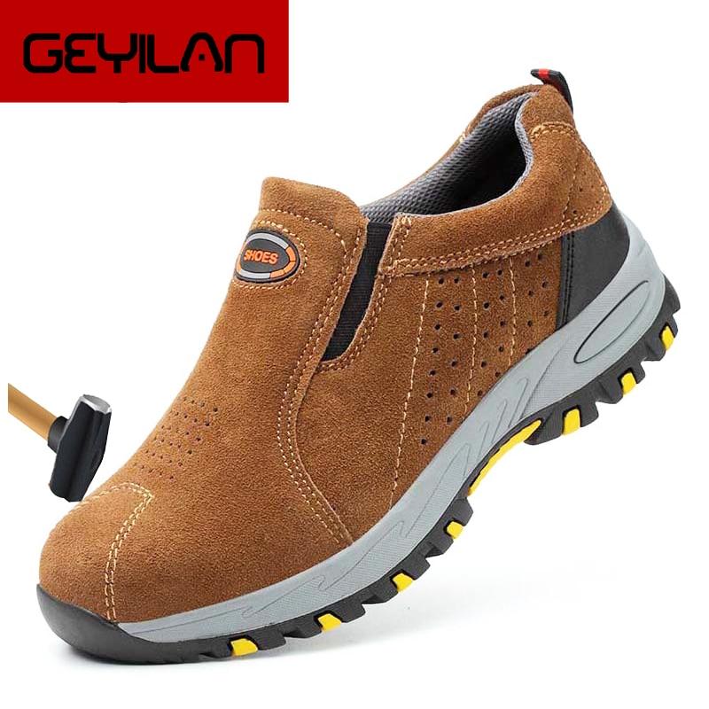 2019 Men's Steel Toe Cap Work Safety Shoes Outdoor Anti-slip Steel Puncture Proof Construction Casua