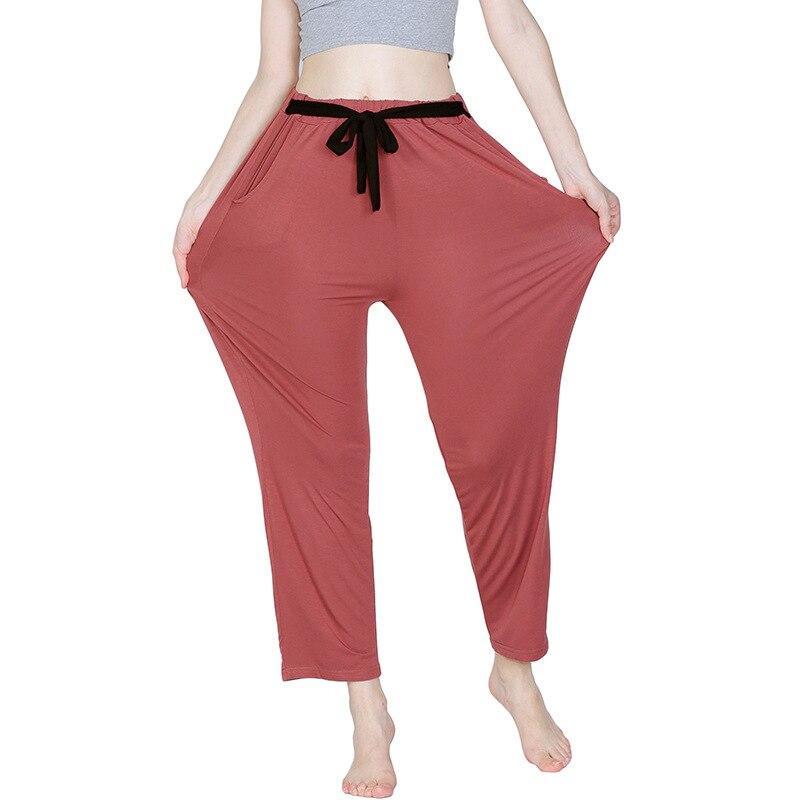 Pantalones de pijama para mujer, de algodón y bambú, 7XL de talla grande, con cintas de cordón, pantalones holgados de pierna ancha informales suaves para dormir, pantalones de salón