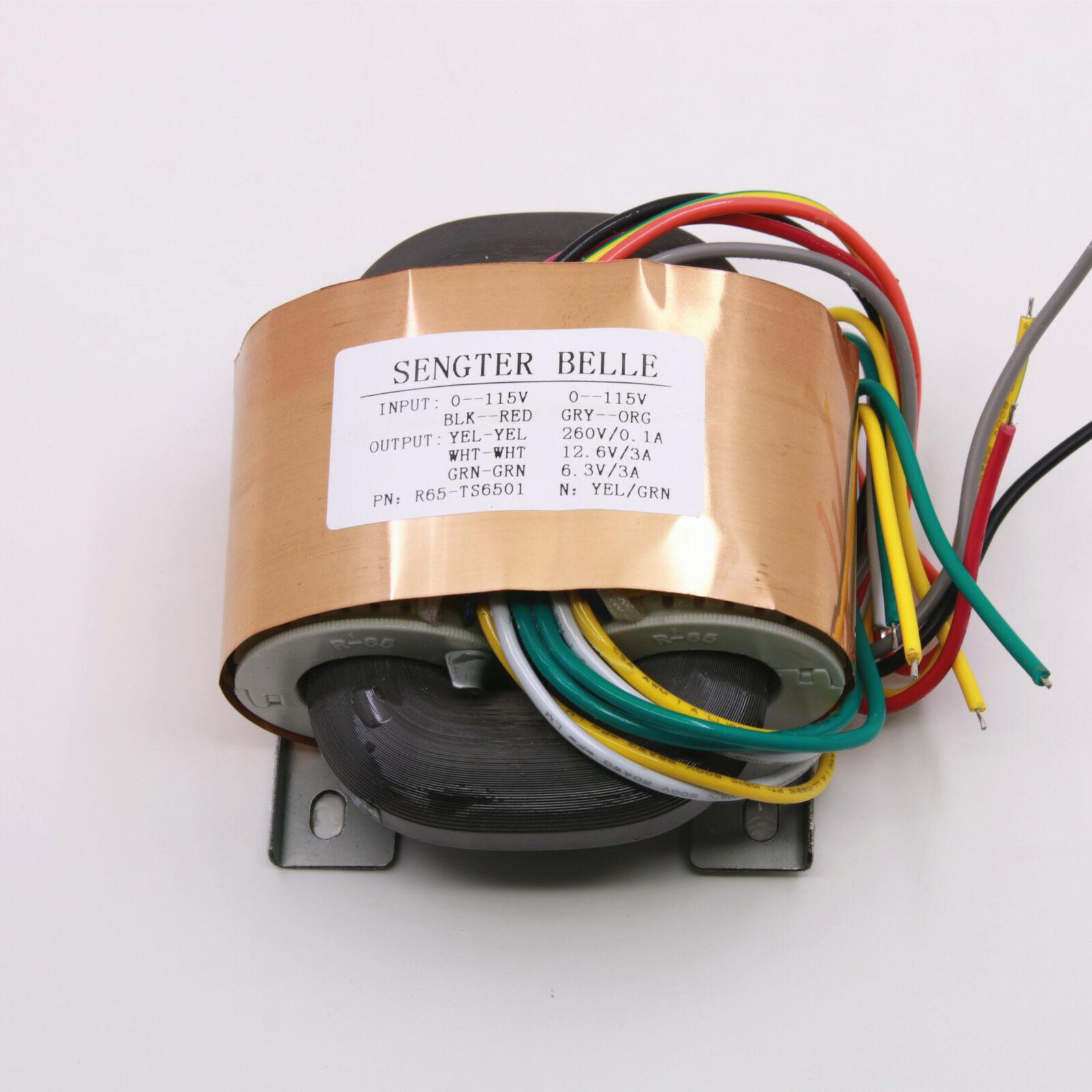 Transformador de salida Tipo R de cobre puro de 80W 0-260V 0-12,6 V 0-6,3 V para preamplificador de tubo