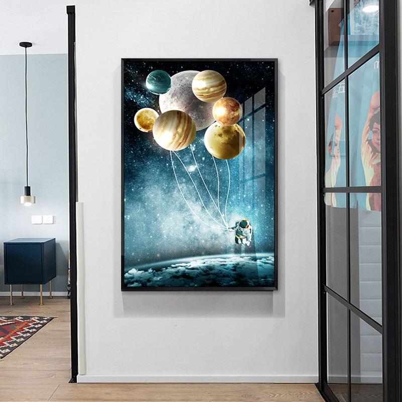 Cuadro sobre lienzo para pared astronauta espacio fantasía planeta carteles de globos e impresiones nórdico abstracto cuadros de pared para decoración del hogar