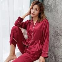 satin silk pajama sets spring autumn new ice silk casual luxurious summer sleepwear female soft smooth homewear 9101