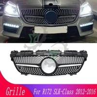 car front bumper modified diamond front grille for mercedes benz slk class r172 slk200 slk250 slk350 2012 2016 racing grille