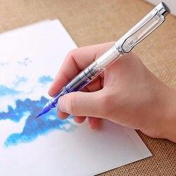 Venda quente plástico transparente branco pistão tipo de parafuso papelaria escritório escola escova nib caneta fonte
