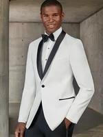men wedding 2021 custom made suits slim fit white tuxedo with shiny black collar