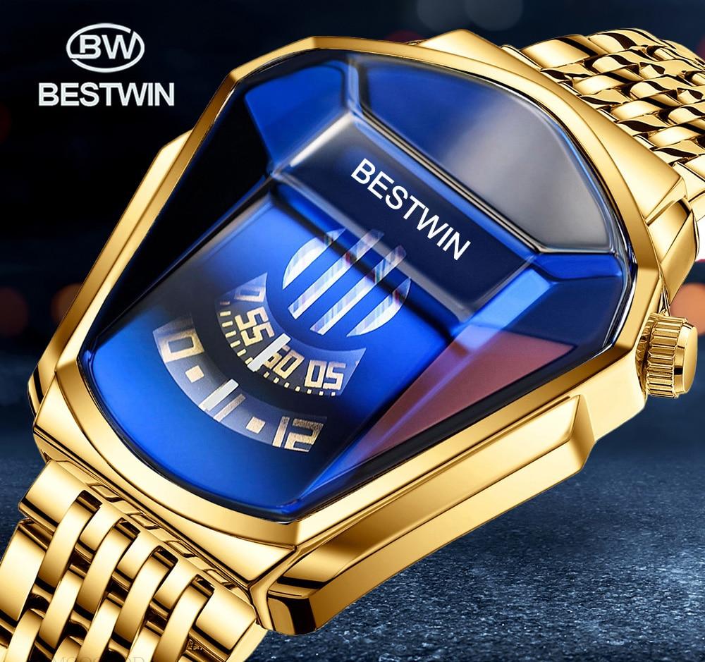 Роскошные Брендовые спортивные часы BESTWIN из нержавеющей стали для мужчин, водонепроницаемые кварцевые часы, мужские часы, повседневные муж...