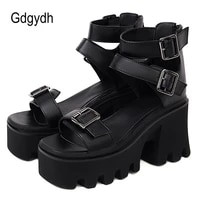 gdgydh top quality rubber sole platform sandals casual thick bottom summer shoes high heels sandals for women european american