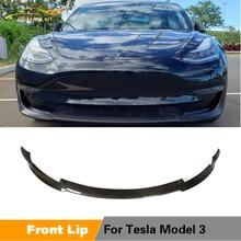 For Tesla Model 3 Base Sedan Long Range Sedan 4-Door Carbon Fiber Front Bumper Lip Spoiler