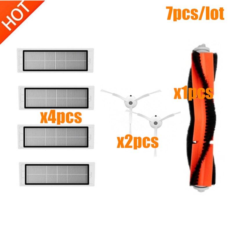 Para xiaomi roborock s50 s51 s55 s5 s6 accesorios xiaomi robot repuestos de aspiradora kit 1 * cepillo principal + 4 * Filtro de + 2 * Cepillo Lateral