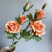 Delicado nuevo rosas Rama de seda artificial flores hogar Decoración de la boda flores decoración de Navidad rosa con hojas