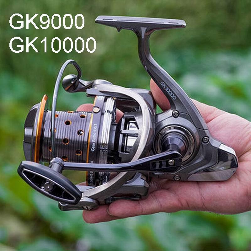 GK9000 9000 10000 Lieyuwang Super gran carrete de pesca 550g 6 + 1 rodamientos relación de velocidad de 4,6 1 remolque 10-15Kgs de acero inoxidable carrete