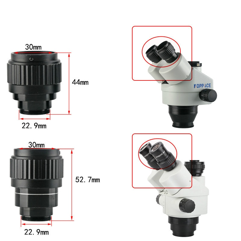A Pair of Stereo Microscope Eyepiece Tube Is Suitable for 30mm Microscope Eyepiece Mounting Interface 22.9mm div 0 1mm microscope ocular micrometer slides calibration ruler microscope eyepiece reticle micrometer diameter 19mm 23mm 27mm