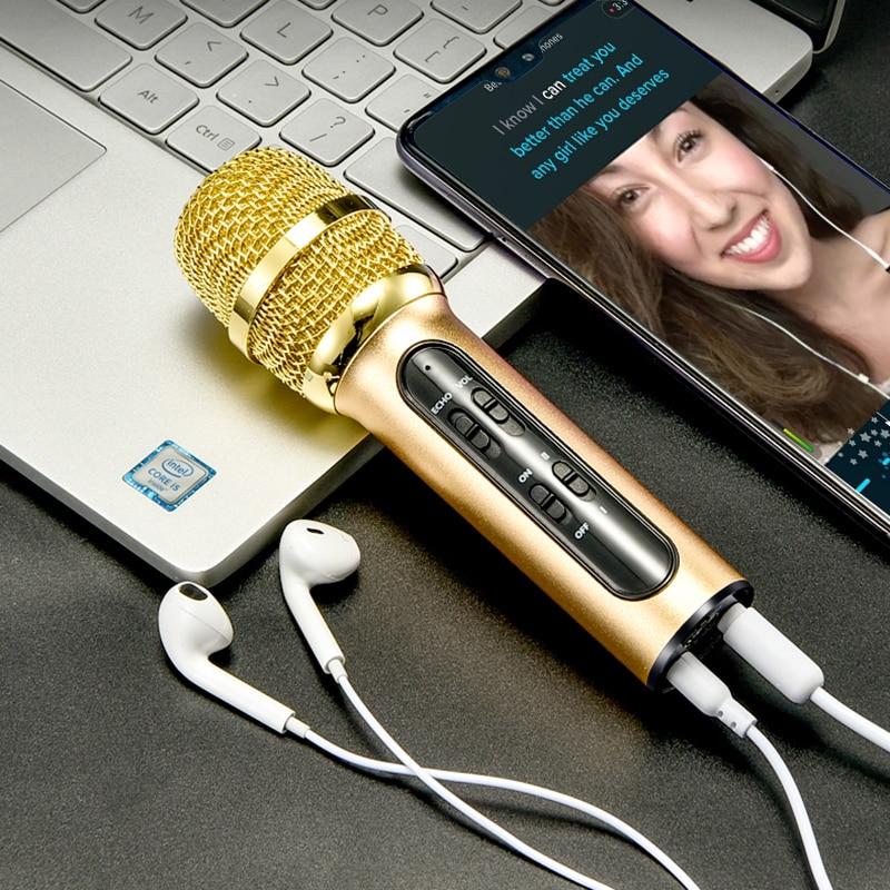 Micrófono de condensador de Karaoke profesional portátil, micrófono de grabación en vivo para ordenador de teléfono móvil con tarjeta de sonido ECHO