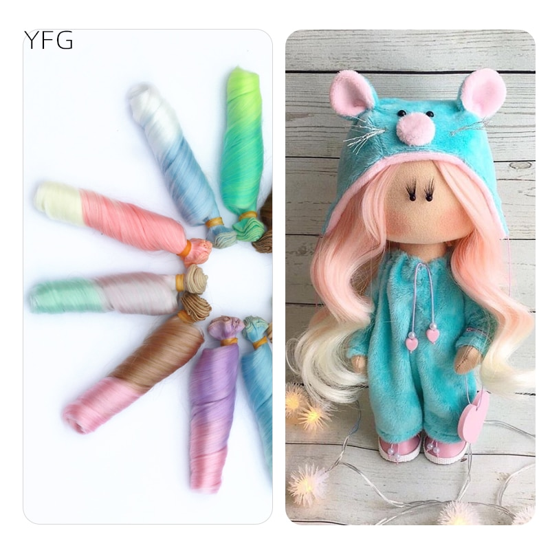Moda 15cm DIY Mini muñeca trenzas Material de alta temperatura Peluca de...