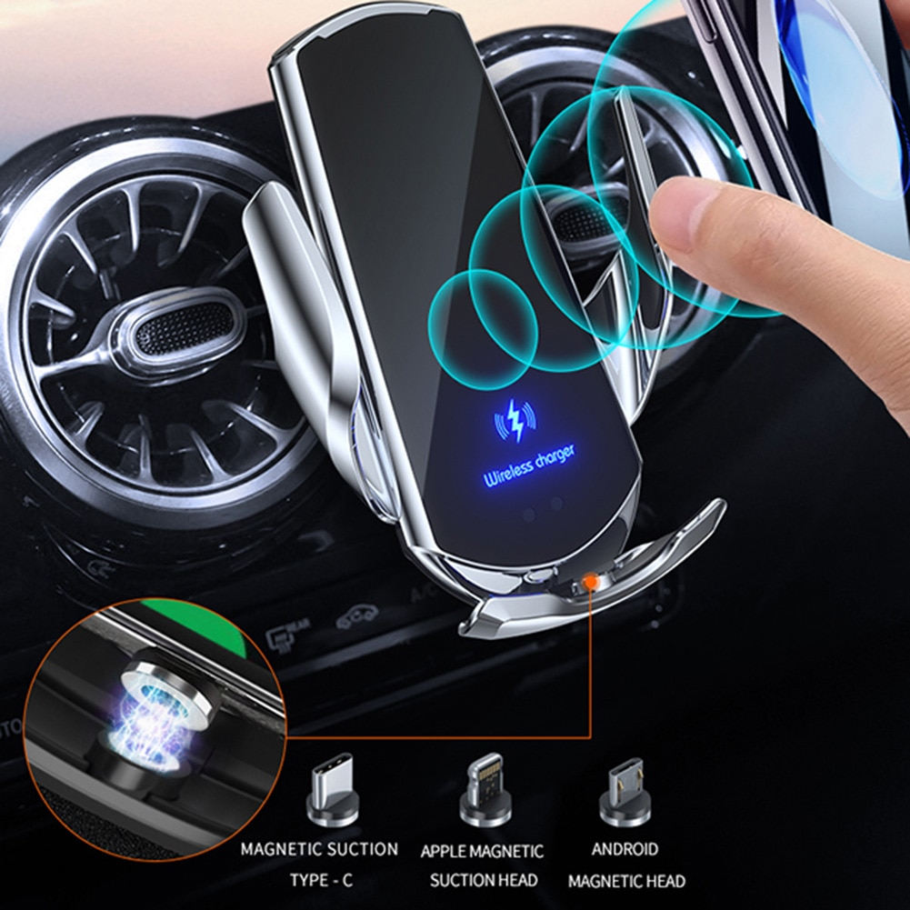 Wireless Car Charger Mount Fast Charging Infrared Induction Car Charger Holder Compatible with Most Smart Phones держатель hoco ca35 plus auto induction wireless fast charging in car phone holder black